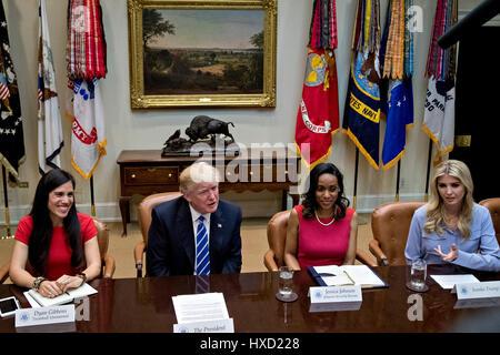 Washington, USA. 27th Mar, 2017. Ivanka Trump, daughter of U.S. President Donald Trump, from right, Jessica Johnson, - Stock Photo