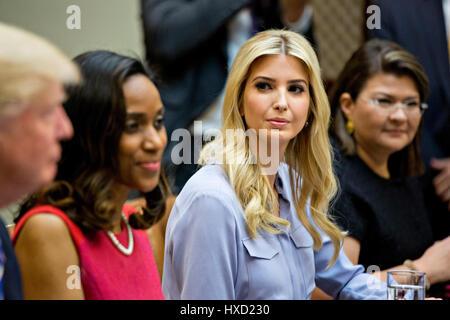 Washington, USA. 27th Mar, 2017. Claudia Mirza, co-founder and chief executive officer of Akorbi, from right, Ivanka - Stock Photo