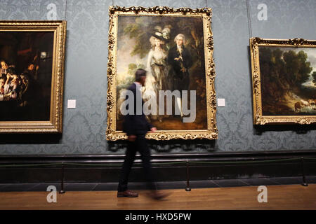 The National Gallery. London, UK. 28th Mar, 2017. Thomas Gainsborough, Mr and Mrs William Hallett ('The Morning - Stock Photo