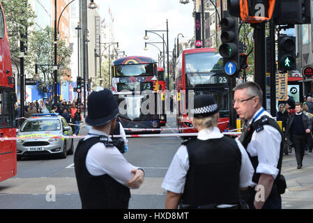 Oxford Street, London, UK. 28th March 2017. Buses fill Oxford Street after a collision between a pedestrian and - Stock Photo