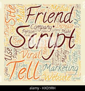 How To Use A Tell A Friend Script To Drive Traffic Today text background wordcloud concept - Stock Photo