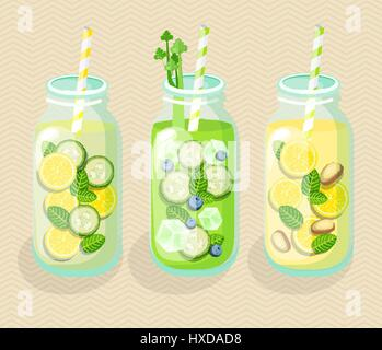 Set of Detox cocktails, vector. - Stock Photo