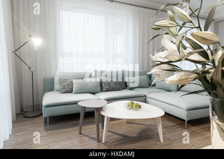 Modern interior of a small private apartment, sitting room, sofa and tables - Stock Photo