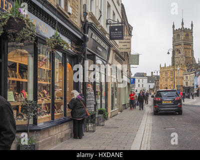 a view of Market Place towards St John the Baptist church and independent shops with the new road scheme in the - Stock Photo