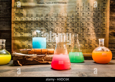 Old chemical lab with color beakers - Stock Photo