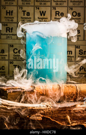 School chemical lab with color beakers - Stock Photo