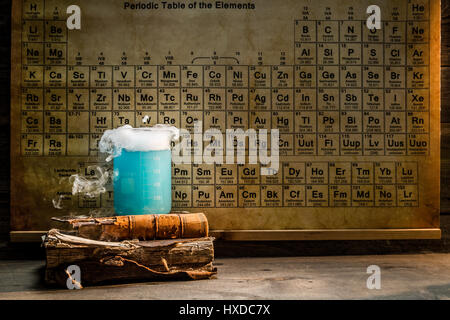 University chemical lab with color beakers - Stock Photo