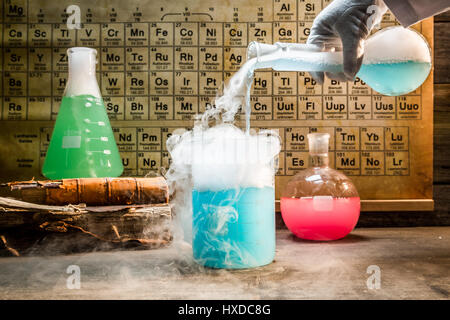 Academic chemical lab with color beakers - Stock Photo
