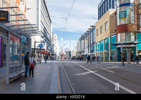 Tramlines on the new tram network in Corporation Street in Birmingham City Centre - Stock Photo