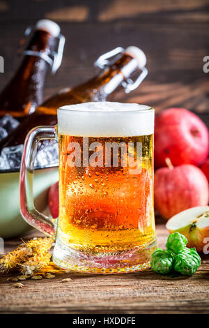 Fresh, cold and homemade apple beer - Stock Photo