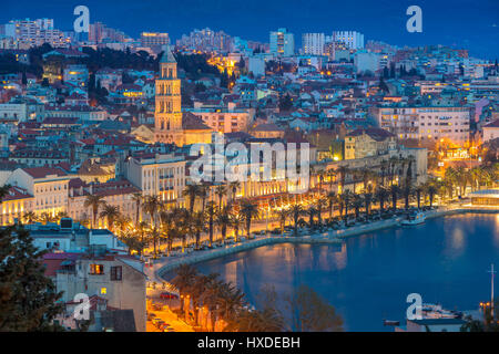 Split. Beautiful romantic old town of Split during twilight blue hour. Croatia,Europe. - Stock Photo