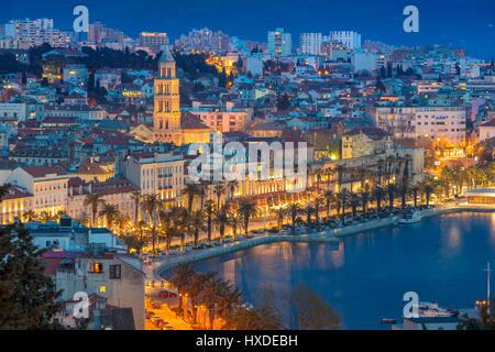 Split. Beautiful romantic old town of Split during twilight blue hour. Croatia,Europe. - Stock Photo