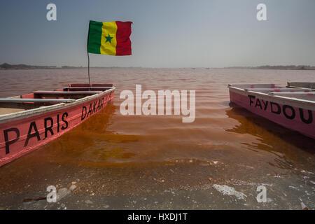 Still life at the Pink Lake (Lac Rose / Lake Retba) in Senegal - Stock Photo