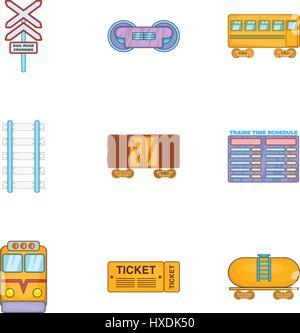 Electrical train icons set, cartoon style - Stock Photo
