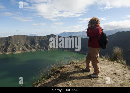 Ecuador, Quilitoa, Crater Lake - Stock Photo
