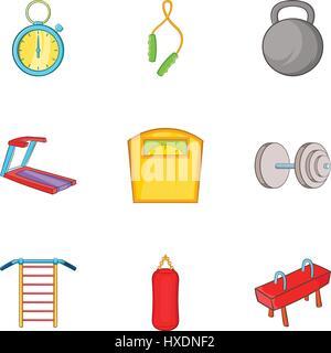 Gym icons set, cartoon style - Stock Photo