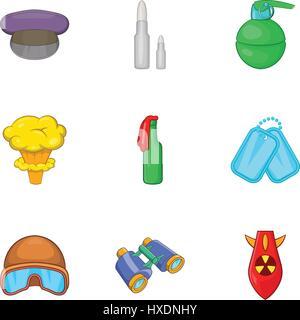 Weaponry icons set, cartoon style - Stock Photo