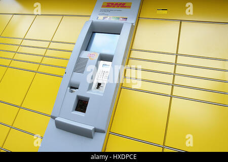 Package station of DHL, Paketstation von DHL - Stock Photo