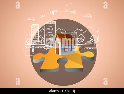 Digital composite of House illustration on jigsaw in circle againt brown background with street town illustration - Stock Photo
