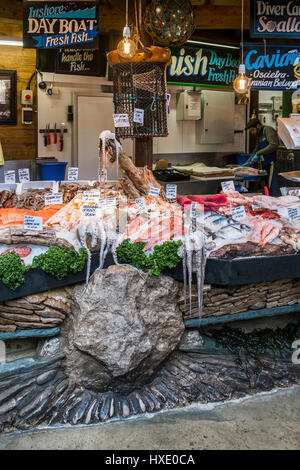 Borough Market Interior Fishmonger Stall Display Fish Variety Choice Signs Prices London Tourism - Stock Photo