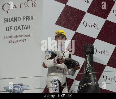 26th March 2017, Losail International Circuit.  Qatar.  John McPhee who rides for British Talant Team during the - Stock Photo