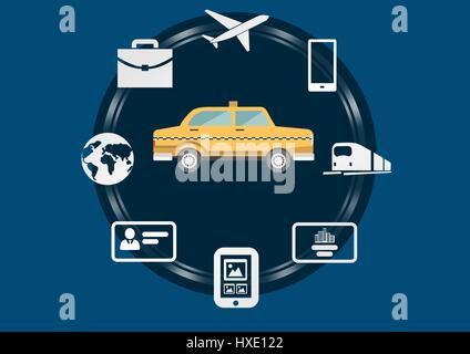 Digital composite of Taxi illustration icon in circle against blue background with travel and technology business - Stock Photo