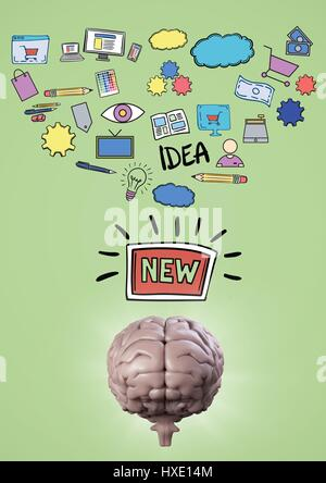 Digital composite of Pink brain under creativity doodles against green background - Stock Photo