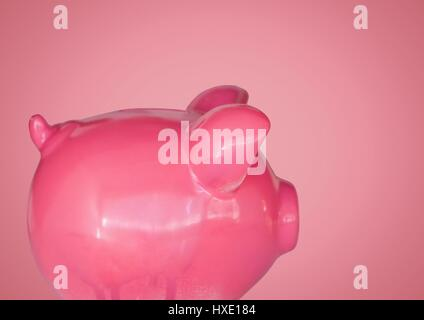 Digital composite of Piggy bank against pink background - Stock Photo