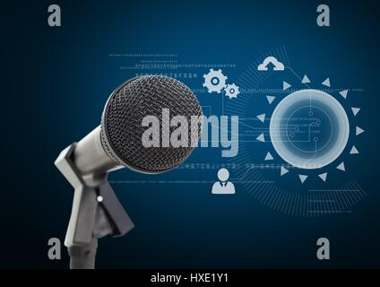 Digital composite of Microphone against blue background with technology interface - Stock Photo