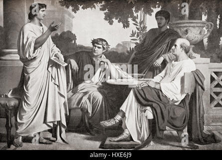 Left to right, Virgil, Horace and Varius at the House of Maecenas,(seated far right).  Publius Vergilius Maro, 70 - Stock Photo