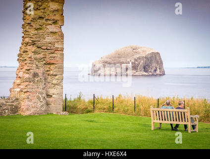 Bass Rock from Tantallon Castle, East Lothian, Scotland - Stock Photo