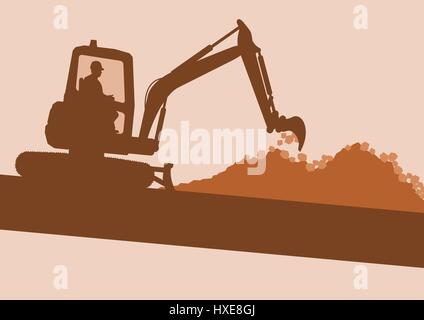 Mini excavator with worker inside cabin working in construction site vector background - Stock Photo