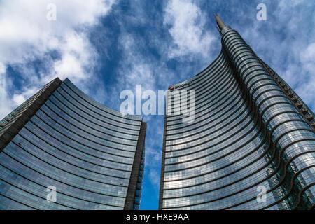 Modern skyscrapers in Porta Nuova district, Milan, Italy - Stock Photo