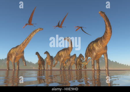 An Argentinosaurus and Deinocheirus herd gets upset when a flock of Anhanguera reptiles fly to close to them. - Stock Photo