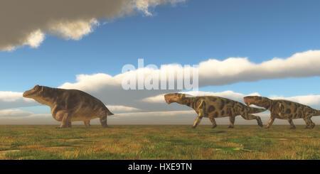 Permian Inostrancevia hunts Keratocephalus - Two Inostrancevia dinosaurs go after a Keratocephalus on a grassy plain - Stock Photo