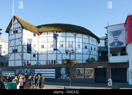 The reconstruction of Shakespeares Globe Theatre on the South Bank in Southwark, London, UK - Stock Photo