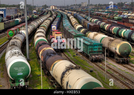 St. Petersburg, Russia - May 22, 2015: Trains of freight wagons in marshalling yard, Railway yard with a lot of - Stock Photo