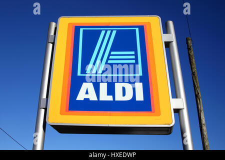 Carmarthen, Wales, UK – January 2, 2017:  Aldi logo advertising sign outside its retail supermarket stores in the - Stock Photo