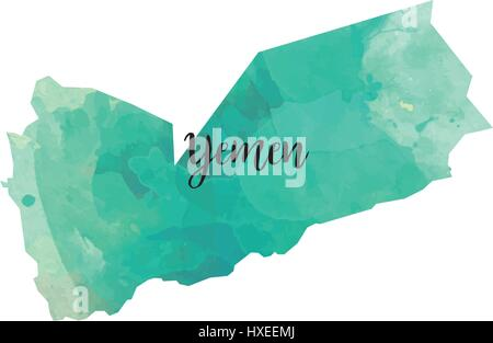 Abstract Yemen map - Stock Photo