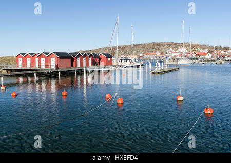 one harbour on a little island on sweden west-coast - Stock Photo