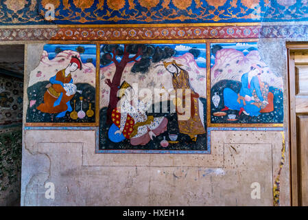 Persian paintings in main hall of Palace of Forty Columns (Chehel Sotoun) in Isfahan, capital of Isfahan Province - Stock Photo