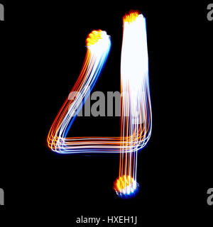 4 - Created by light colorful digits over black background - Stock Photo