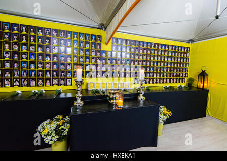 Seoul, South Korea - November 19, 2015: Tent with portraits of students who died in the capsizing of the  ferry - Stock Photo