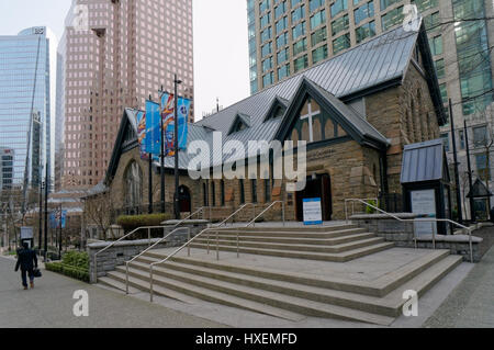 Newly renovated 2016 - 2017 Christ Church Cathedral in downtown Vancouver, British Columbia, Canada - Stock Photo