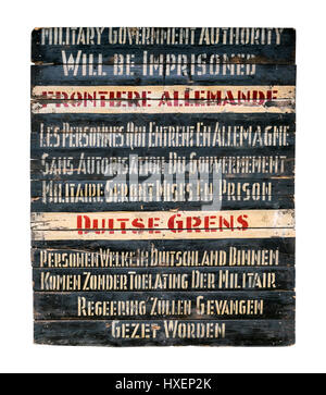 Rare original WW2 German border crossing sign removed from the Dutch/Belgian/German border circa 1945. The sign - Stock Photo