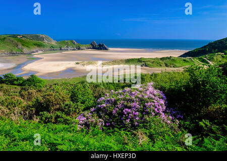Three Cliffs Bay on the Gower Peninsula, South Wales, UK - Stock Photo