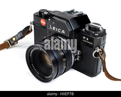 Vintage Leica R3 Electronic 35mm SLR film camera with Summicron-R 50mm f/2 manual focus lens from 1976. - Stock Photo