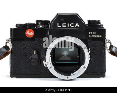 Vintage Leica R3 Electronic 35mm SLR film camera from 1976 with lens removed to show the mirror inside. - Stock Photo