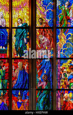 Stained glass windows inside Saint Vitus Cathedral, Prague, Czech Republic. - Stock Photo