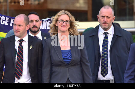 Claire Blackman, the wife of Alexander Blackman, outside ...